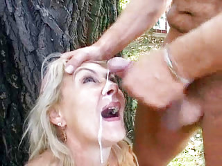 Busty mature receives outdoor...