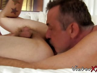 Dick riding homo is eager to swallow hairy...
