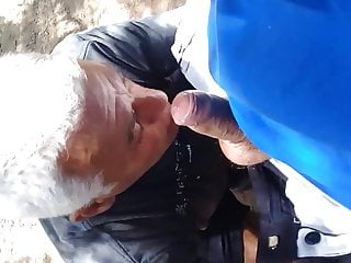 Daddy suck cock in forest