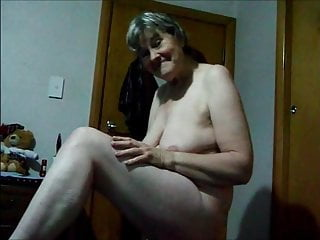 Granny nude playing with her tits...