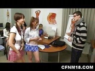 Anatomy teacher accepts his cfnm punishment...