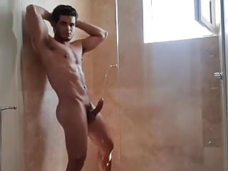 Hard muscle hunk shower pissing...