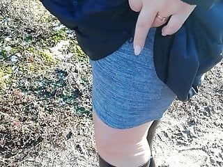 A walk after work in nylon stockings