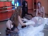 Sexy lesbians have fun with their nylons.