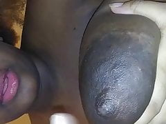 Mature Ebony Shoots Milk Out Of Her Humungous Boob