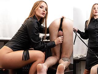 Mistress milking slave...