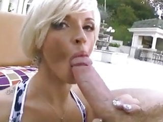 Blonde milf sucks cock...