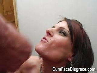 Middle aged skank gets her face painted with cum
