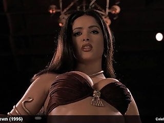 Busty celebrity salma hayek hot striptease in tight...