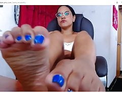 enjoy my blue pedicured toes and wrinkled soles in your face