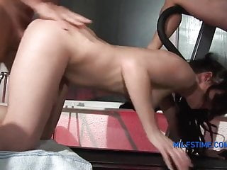 Babes in tiny bikinis suck guy's dick during threesome