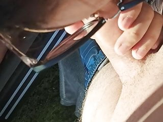 Outdoor sex, dogging lover sucks on stranger's willy