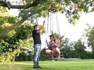 Outdoor chastity slave