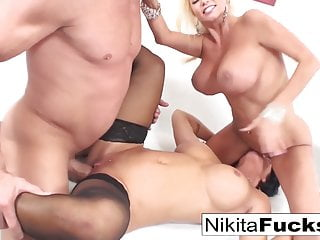 Three-way fun with two hot Milfs and one big dick