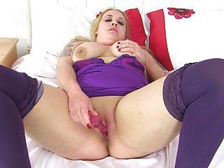 Milf sookie blues fucks herself with a dildo...