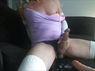 Tranny stroking matching dildo