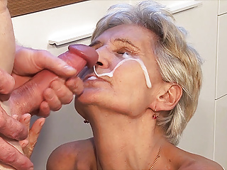 big cum load shot in grandma's eye