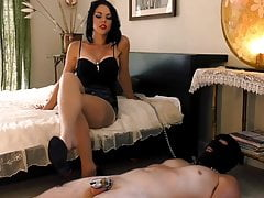 Stockings footjob, goddess teases her chastity slave, preview