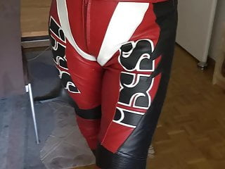 Walking and posing in bike leathers...