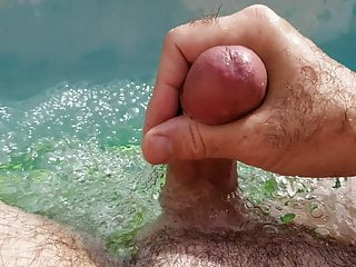 Jerking off in the pool. Big Cum Shot Hairy Body