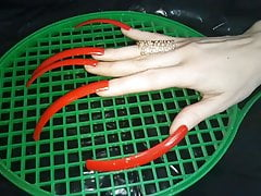 Hook  red extreame long nails Lady L (video short version)