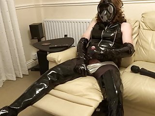 Alison clad in PVC from head to toe – another vibrator wank