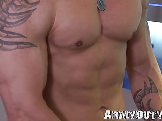 Athletic and inked soldier masturbates after getting naked