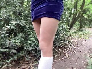 Walk woods in velvet dress socks...