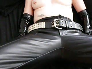 Pierced Milf Latex Gloves and Miniskirt Handjob Part 1