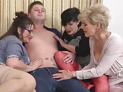 college tinder crazy sex party with three busty mothers and