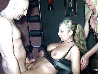 Two German Femdom MILFs Bang Slave in Latex Sex orgy