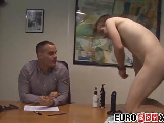 Twink intern has bareback business at boss office...