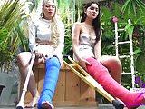 Fetisch-Concept.com - 2 girls with long cast leg Flowershop2