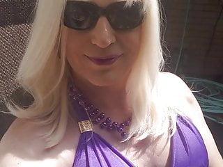 Sun tanning tranny...