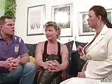 Two German Big Tit MILFs suprise his Husband with 3some