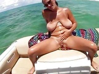 Big saggy boobs mature milf on boat...