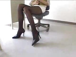 Sexy japanese teacher in miniskirt pantyhose...