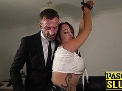 Tattooed Vickie Powell eats jizz after hardcore rough drilli