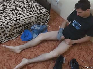 Rubbing his shoes...