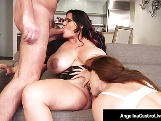 La bella cicciona Angelina Castro condivide il cazzo di BFs con Roberta Gemma