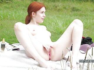 Sweet redhead nudist masturbating outdoor – Second camera