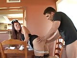 Sexy brunette drives stud crazy with her sexy maid's uniform