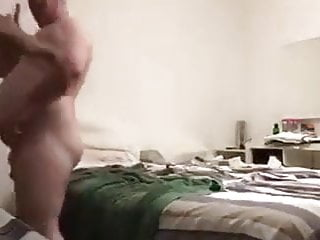 Dark young guy fucks older chubby dad