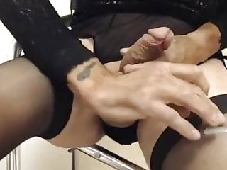 Ebony slut 10 denier nylons and Cum
