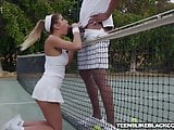 Busty August Ames fucks big black dicked tennis coach