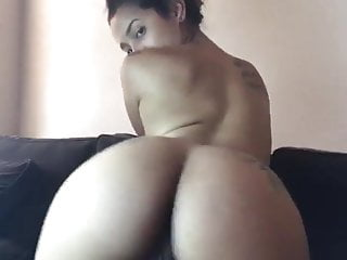 Brunette twerking nude and winking her asshole...