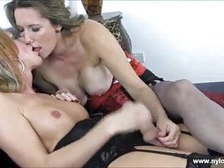Hot blonde shemale wanks big cock as Milf teases her balls