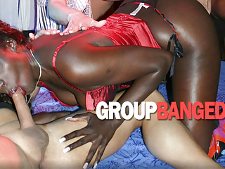 Ebony turns gangbang into interracial fuck fest...