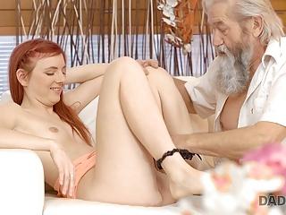 DADDY4K. Slutty red head makes admire to gentleman