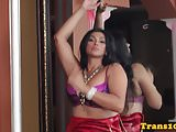 Lingerie tranny tugs her cock in spa and cums